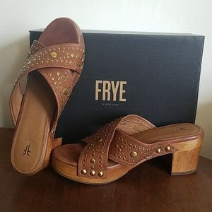 Frye Deco Leather Slide Sandal 7.5 New in Box